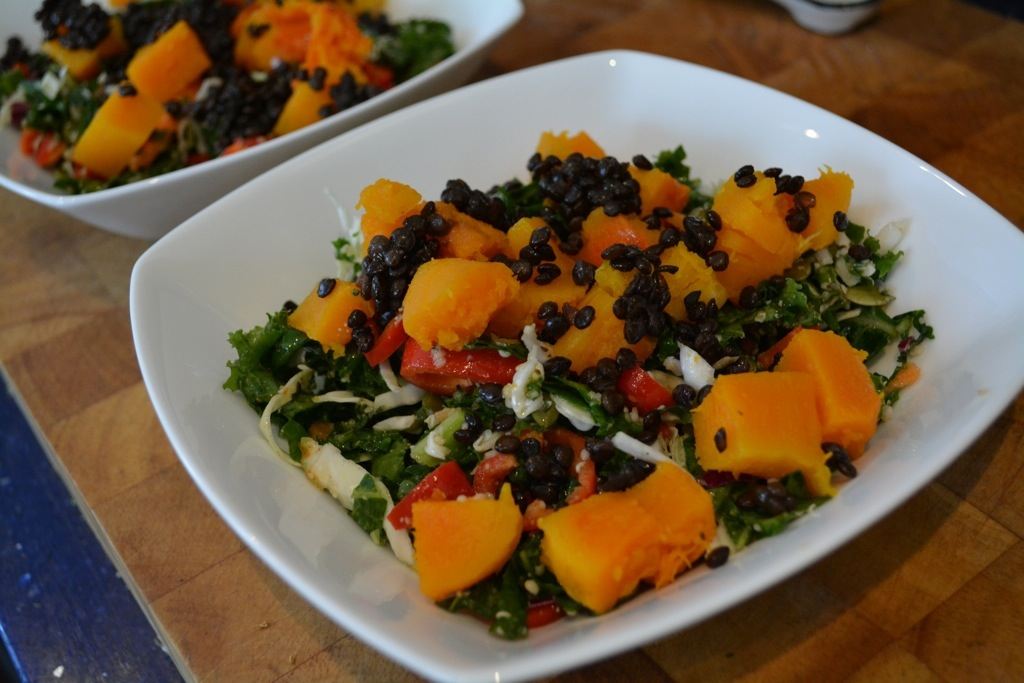 Kale & Cabbage Slaw with Butternut Squash & Lentils in a Smoky Maple Dressing | kitchenoperas.com