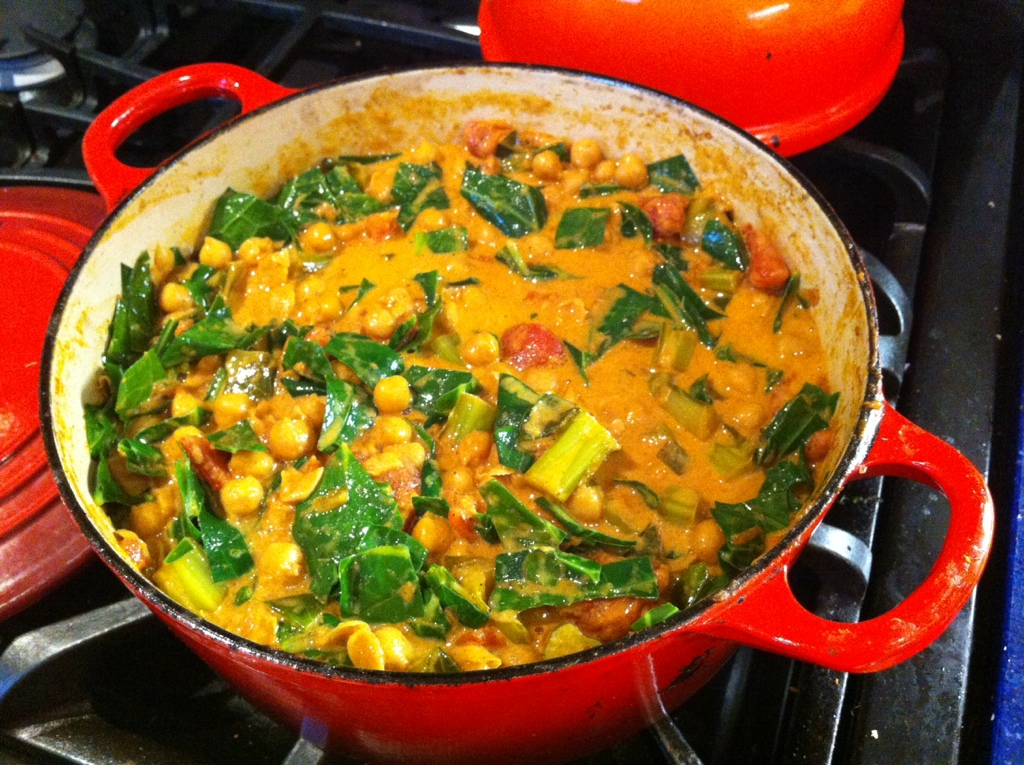 Chickpea & Collard Green Coconut Curry | kitchenoperas.com