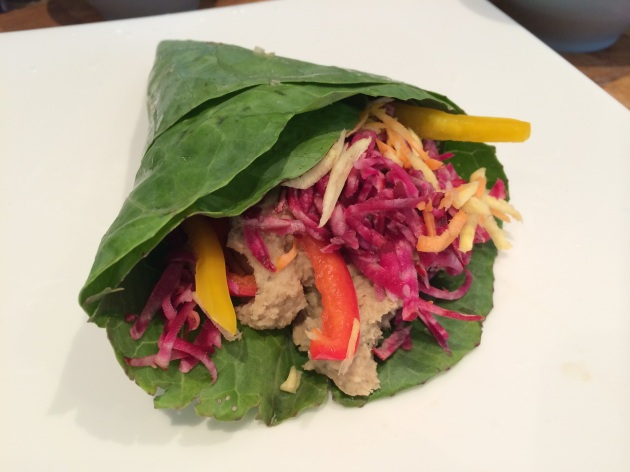 Collard Green Wraps with Red Lentil & Caramelised Shallot Pâté