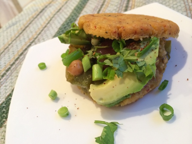 Tomatillo & Poblano Stuffed Arepas | kitchenoperas.com